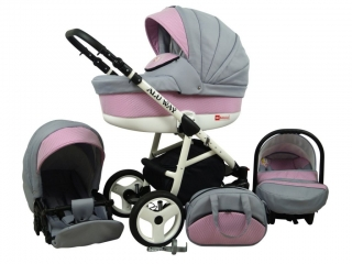 Kočárek Baby Lux Alu Way light pink - trojkombinace